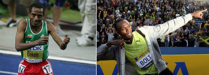 Kenenisa Bekele et Usain Bolt